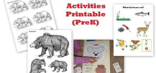 Bear Activities PreK - Free Printable