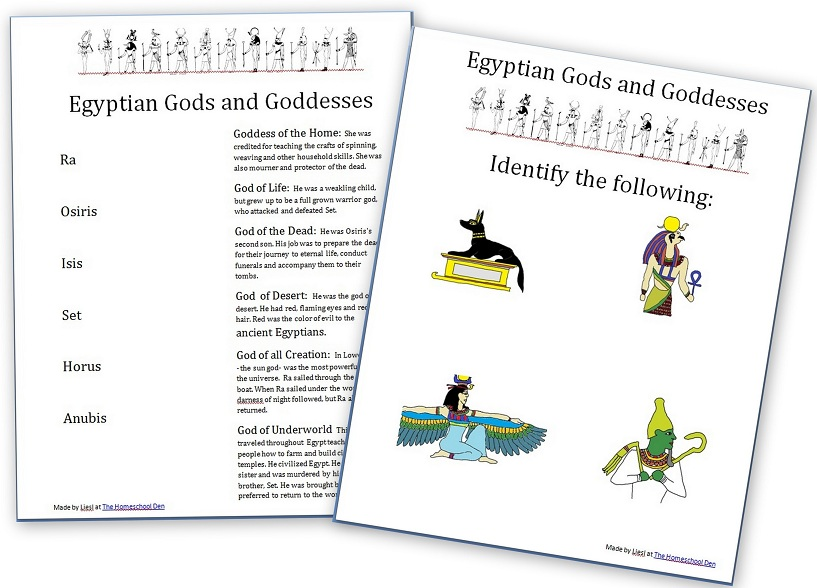 ancient egypt gods goddesses and myths free worksheet set homeschool den. Black Bedroom Furniture Sets. Home Design Ideas
