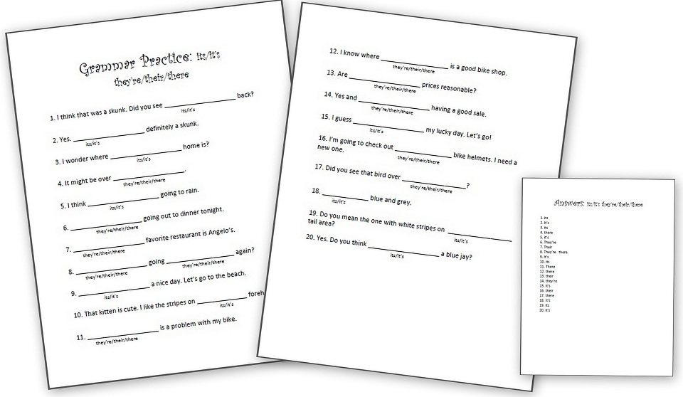 Grammar Worksheets: It's Or Its; They're, Their, Or There