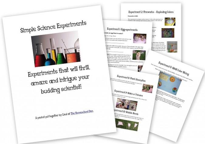 Science Experiment Packet for Preschool-kindergarten
