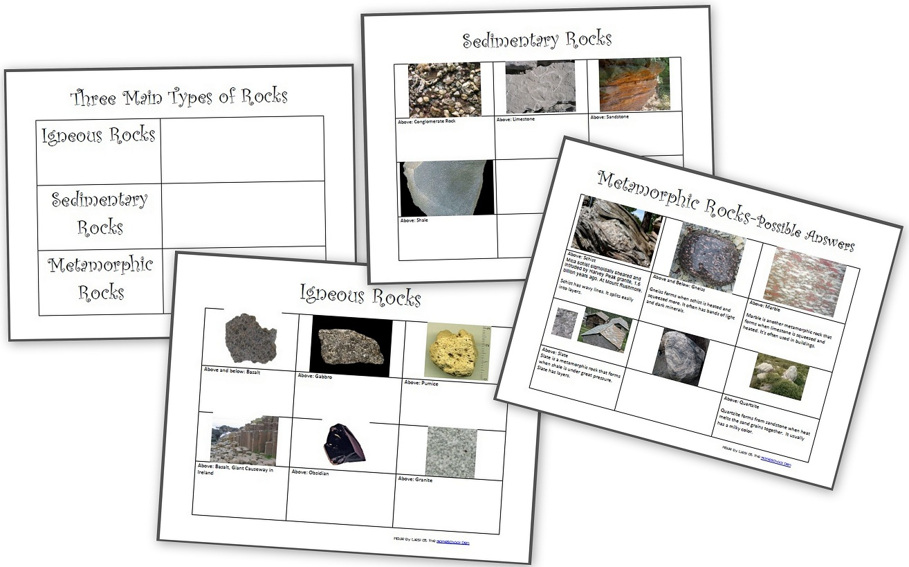 The Three Types of Rocks- Our Activities and a Free Worksheet Packet about  igneous, sedimentary and metamorphic rocks - Homeschool Den