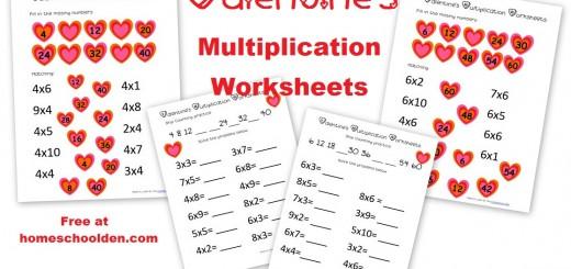 Valentines Multiplication Worksheets