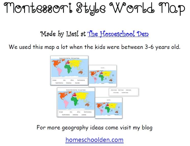 Number Names Worksheets montessori free printable materials : Montessori Geography Activities (Free Montessori World Map ...