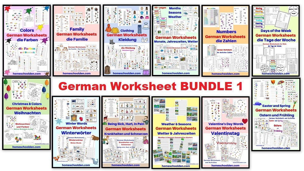 German Worksheet BUNDLE 1