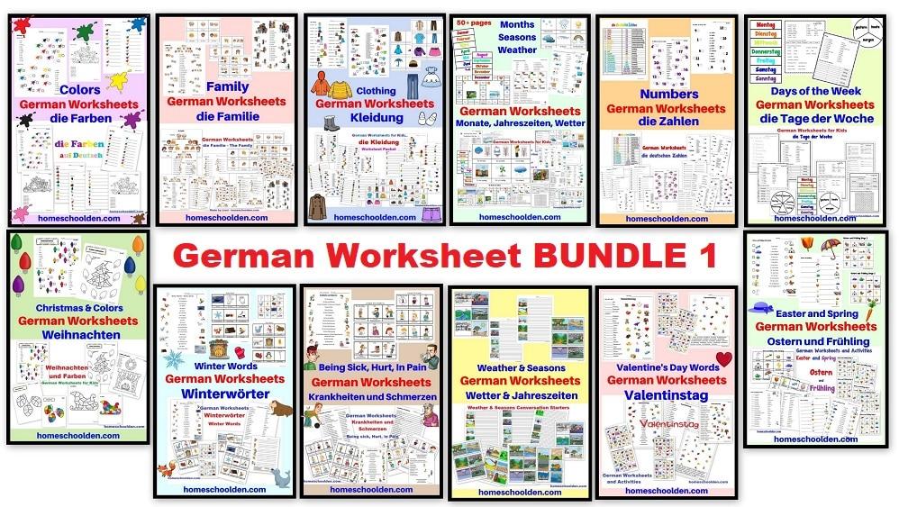German Worksheet BUNDLE 1
