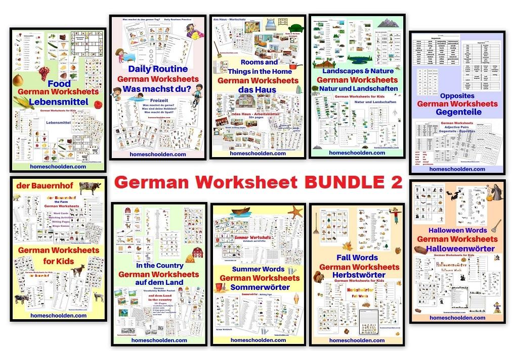 German Worksheet BUNDLE 2