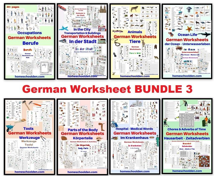 German Worksheet BUNDLE 3