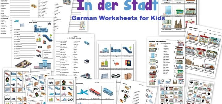 German Worksheets for Kids - In der Stadt - in the city