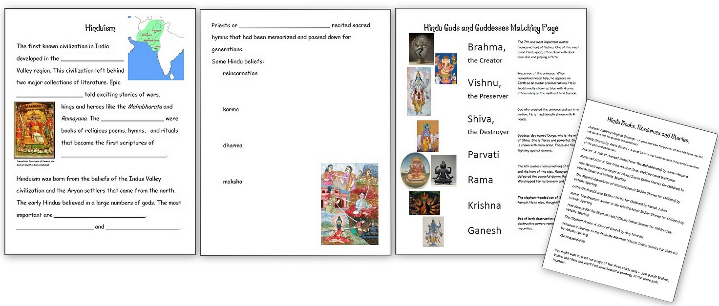 Workbooks homeschooling worksheets for kindergarten : Learning about Hinduism – Hindu Gods and Goddesses - Homeschool Den
