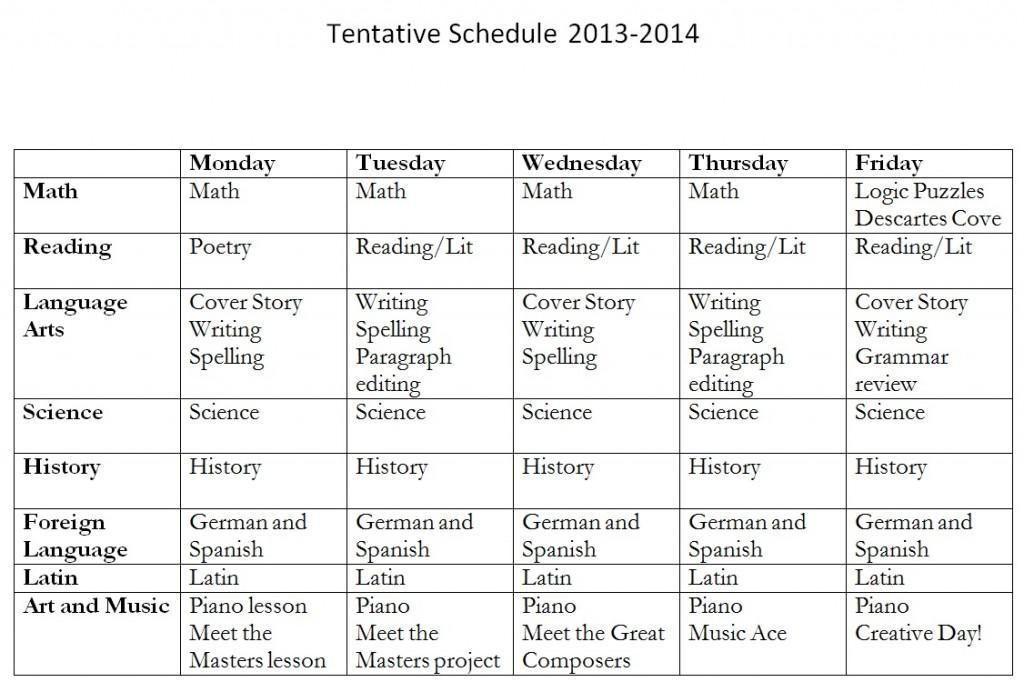 Schedule-of-Schoolwork