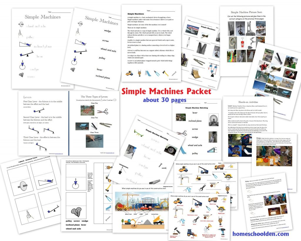 Simple Machines Unit - Worksheets Lapbook Activities
