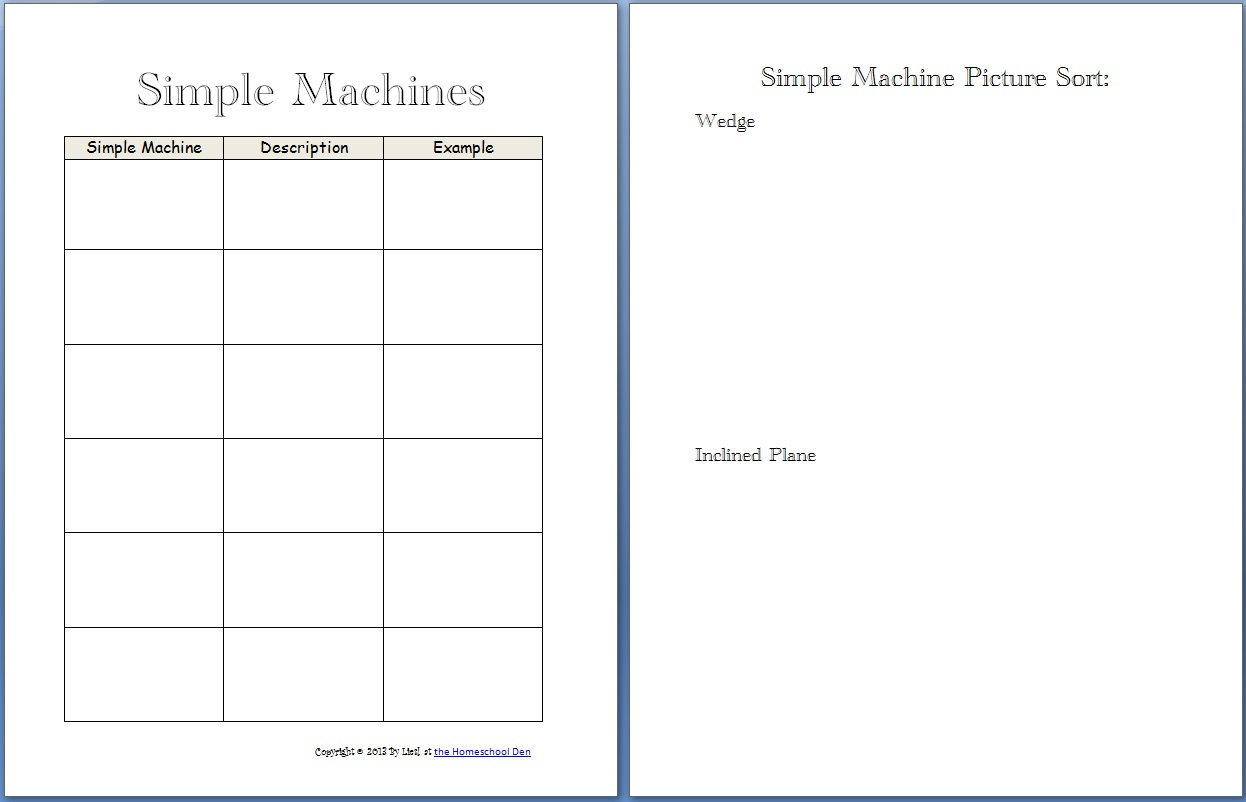 Workbooks simple fill in the blank worksheets : Simple Machines Packet (About 30 pages) - Homeschool Den