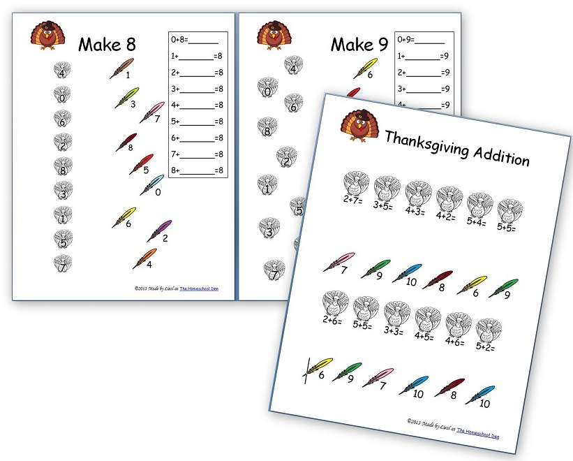 Thanksgiving Math – Free Basic Addition and Number Family Sheets ...
