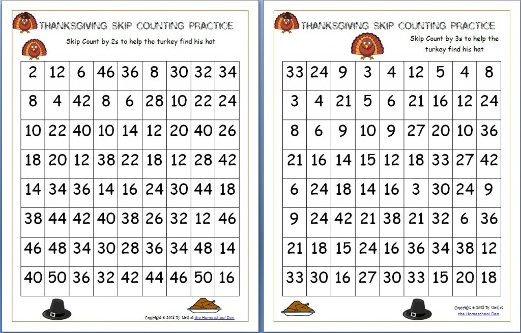 Printable Worksheets thanksgiving science worksheets : Thanksgiving Skip Counting Mazes 2s, 3s, 5s (Free) - Homeschool Den