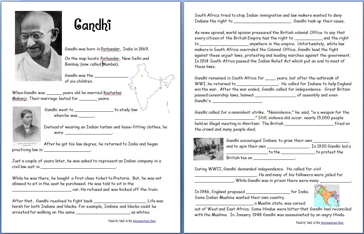 Gandhi (Free Worksheets/Notebook Pages) - Homeschool Den