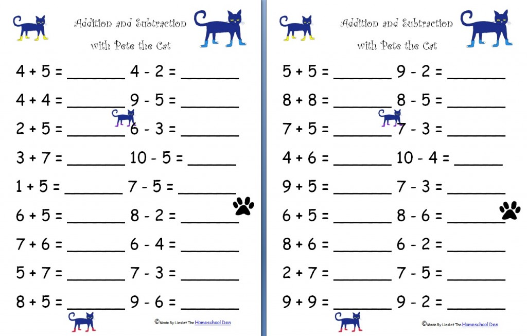 Printable Worksheets math for year 4 worksheets : Addition and Subtraction with Pete the Cat (Free Worksheets ...
