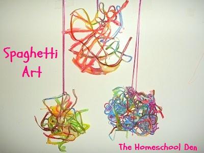 Prek Craft Spaghetti Yarn Art Homeschool Den