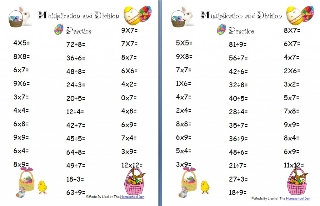 Free Easter Multiplication and Division Worksheets - Homeschool Den