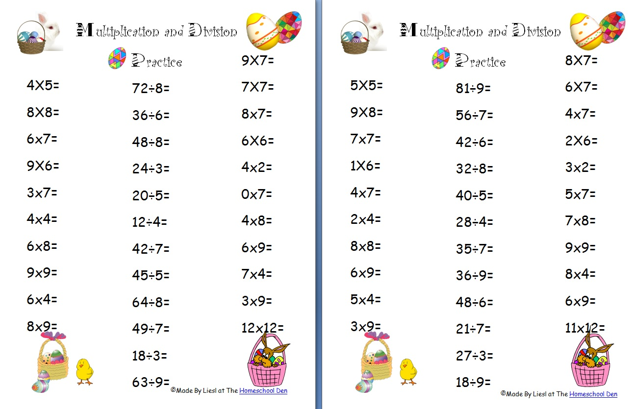 Multiplication Worksheets multiplication worksheets 4 : Free Easter Multiplication and Division Worksheets - Homeschool Den