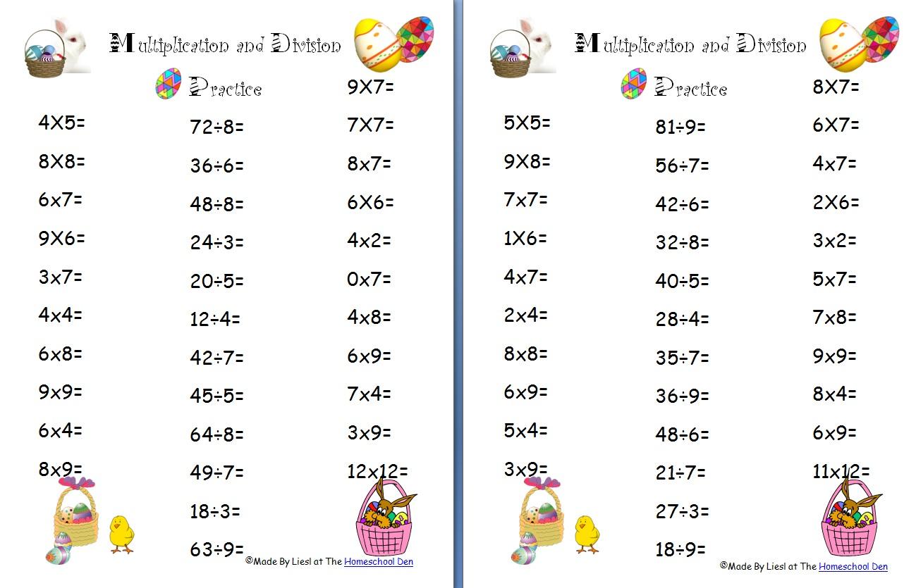 Math Division Homeschool Den – Division Worksheets