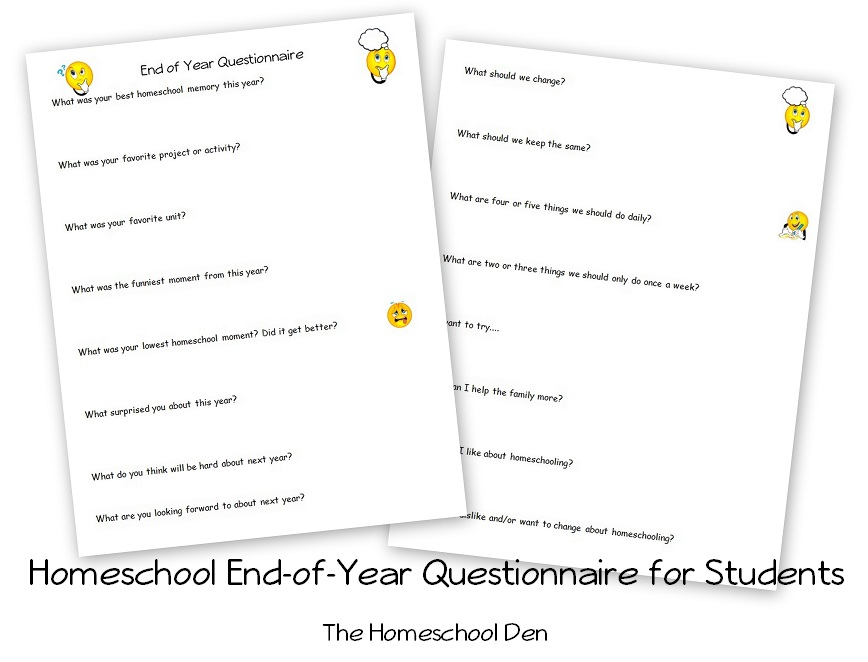Homeschool End of Year Questionnaire for Students