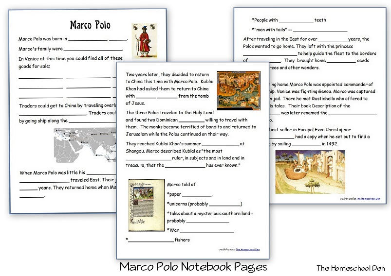 Marco Polo Free Notebook Pages Books And Resources