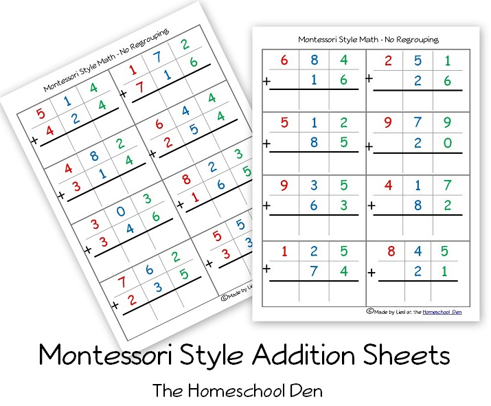 Number Names Worksheets montessori free printable materials : Free Montessori Style Addition Sheets (And Place Value Activities ...