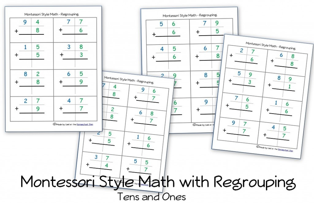 Addition Worksheets free printable simple addition worksheets : Free Montessori Style Addition Pages — with Regrouping (Carrying ...