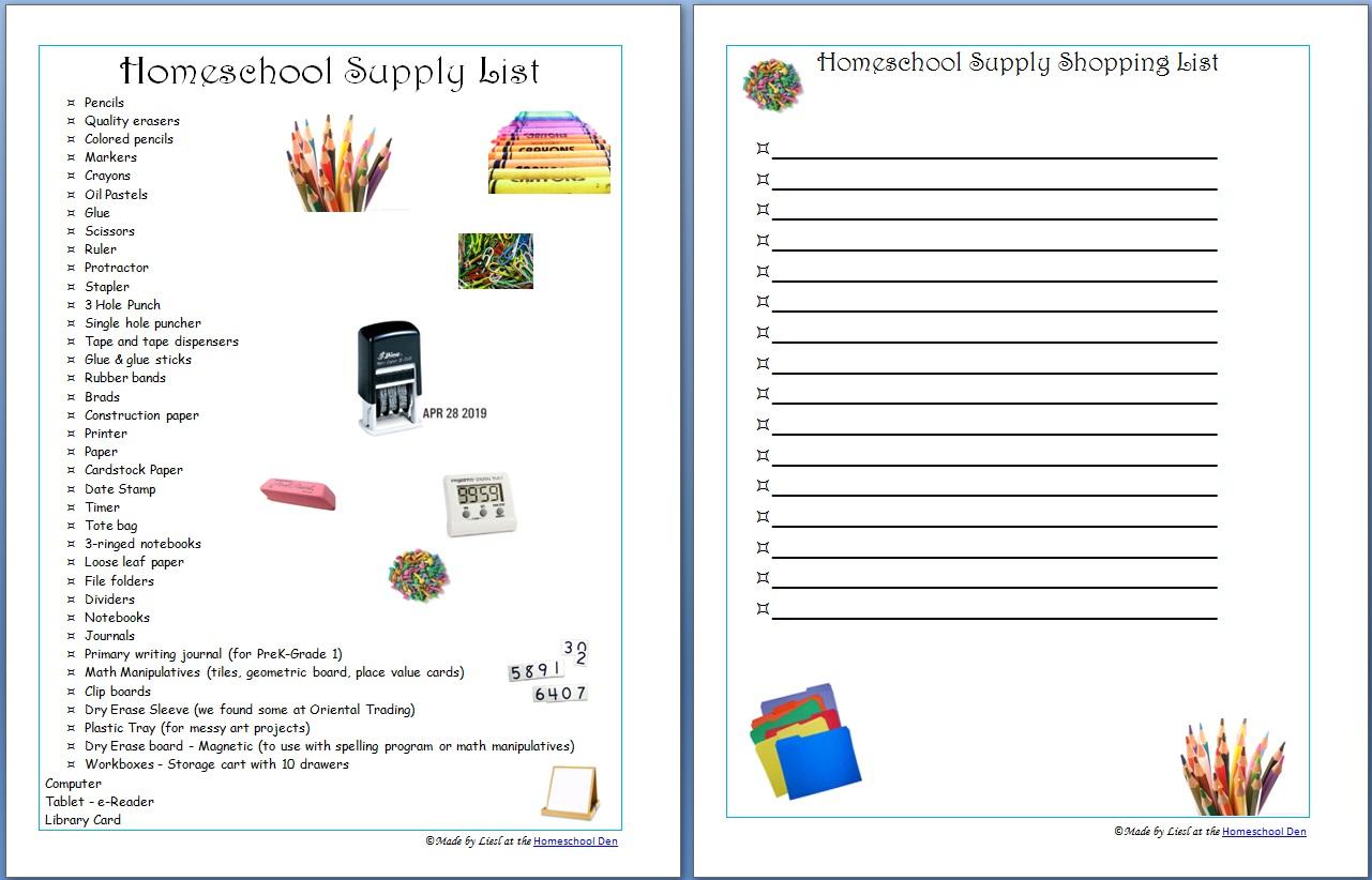 HomeschoolSupplyList