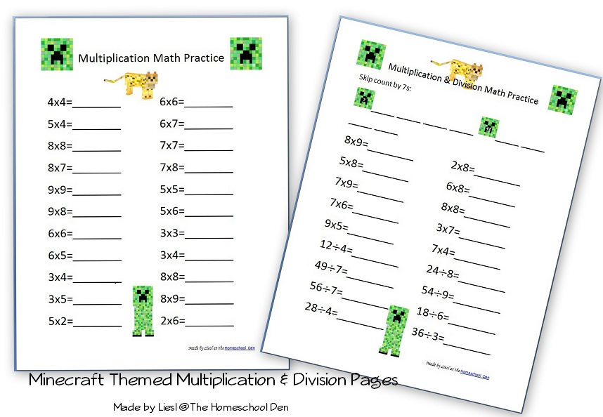 Multiplication & Division Pages with a Minecraft Theme ...