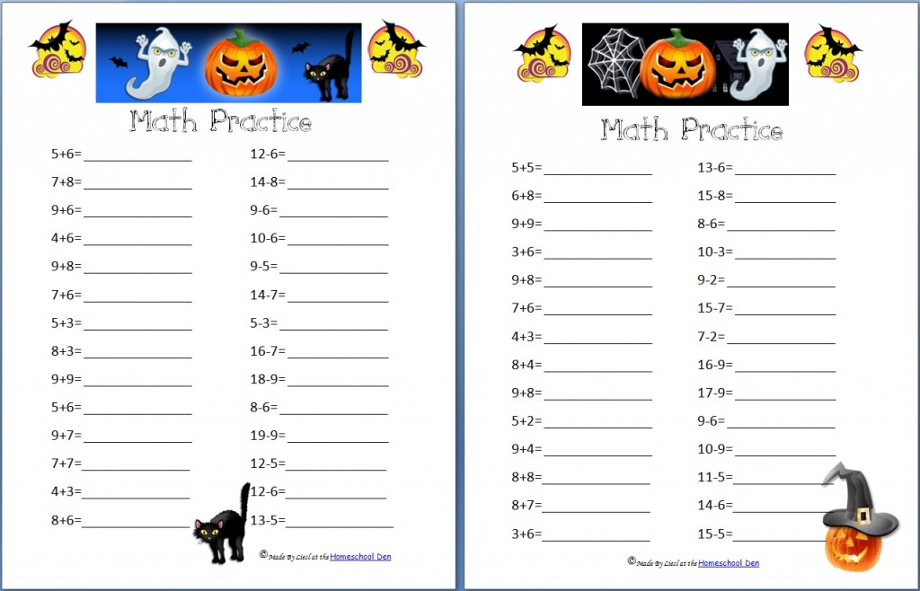 Printable Worksheets halloween algebra worksheets : Free Halloween Math Worksheets: Addition, Subtraction, Coins and ...
