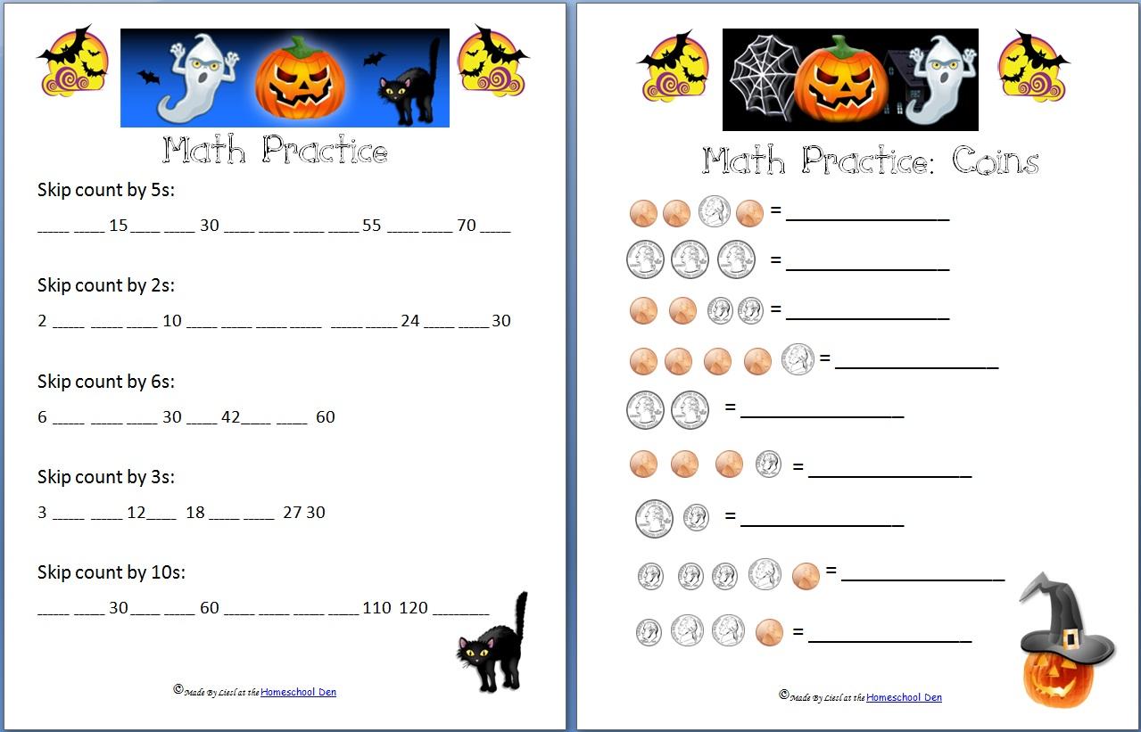 Workbooks math worksheets adding and subtracting : Holiday: Halloween - Homeschool Den