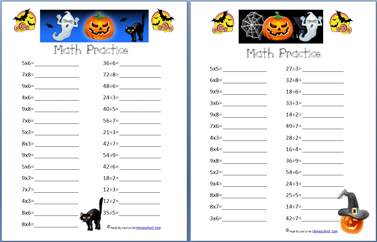 Division Worksheets multiplication and division worksheets grade 4 : Free Halloween Math Practice Pages: Multiplication, Division, and ...