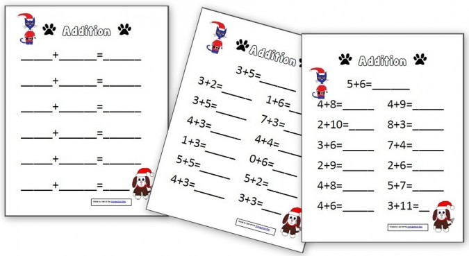 Addition Worksheets christmas addition worksheets kindergarten : Christmas Addition – Subtraction Worksheets (Minecraft, Pete the ...