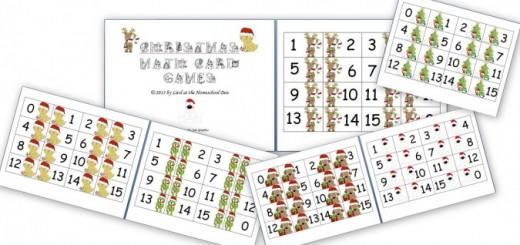 Math Card Games- Christmas