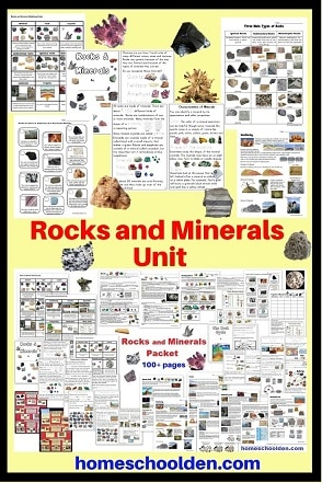 Rocks and Minerals Unit with Worksheets Notebook Pages Lapbook Booklet and more