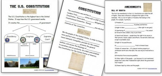 US Constitution Worksheets and the 3 branches of government