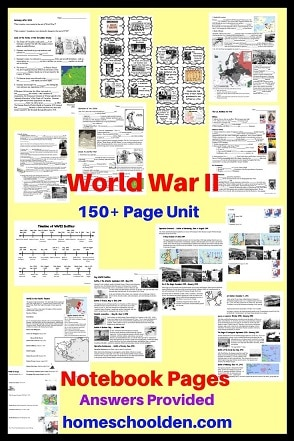 World War II Unit - Notebook Pages - Student Pages and Teacher answer pages