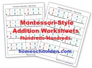 Montessori Addition Sheets with Regrouping (Free)