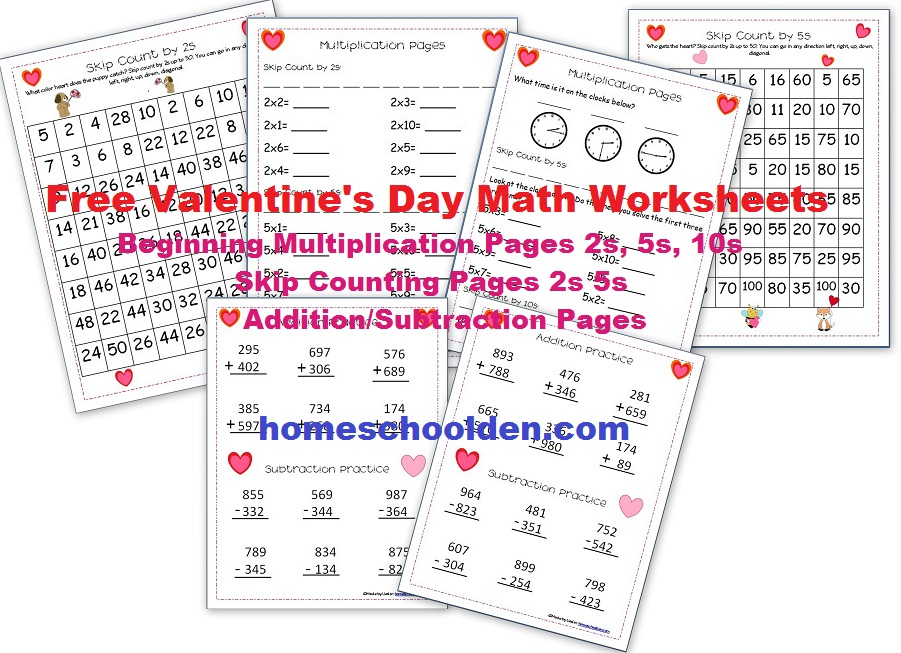 valentine 39 s day math worksheets multiplication skip counting addition subtraction. Black Bedroom Furniture Sets. Home Design Ideas