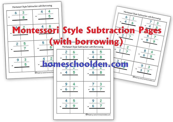 Montessori Subtraction Pages (with borrowing) - Homeschool Den