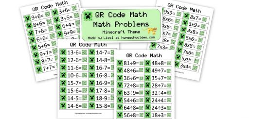 QR Code Math - Minecraft Math Problems Addition Subtraction Multiplication Division Cards