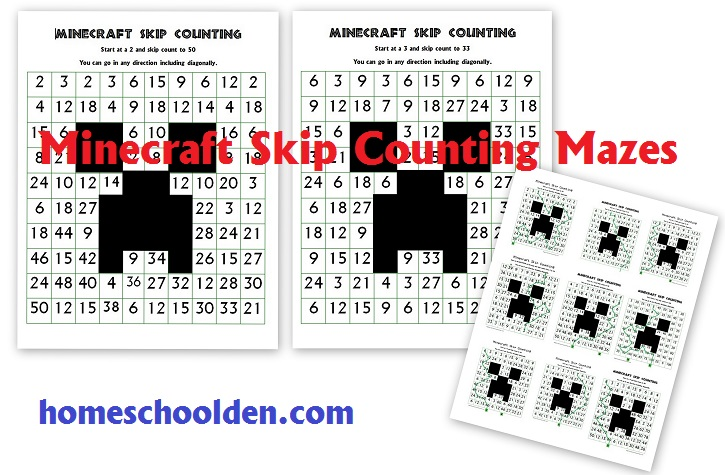 free skip counting mazes minecraft themed homeschool den. Black Bedroom Furniture Sets. Home Design Ideas