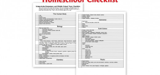 Homeschool Science Checklist - elementary and middle school