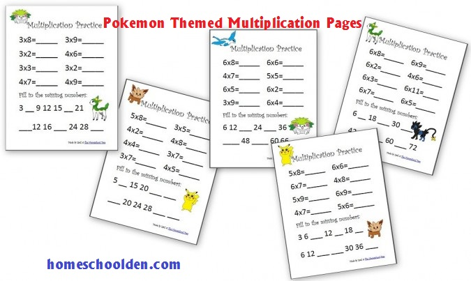 Multiplication Practice Sheets 3s Through 6s Pokemon