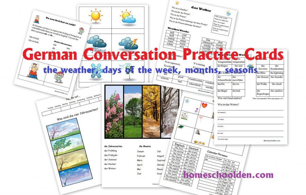 german conversation practice set weather days of the week months seasons homeschool den. Black Bedroom Furniture Sets. Home Design Ideas