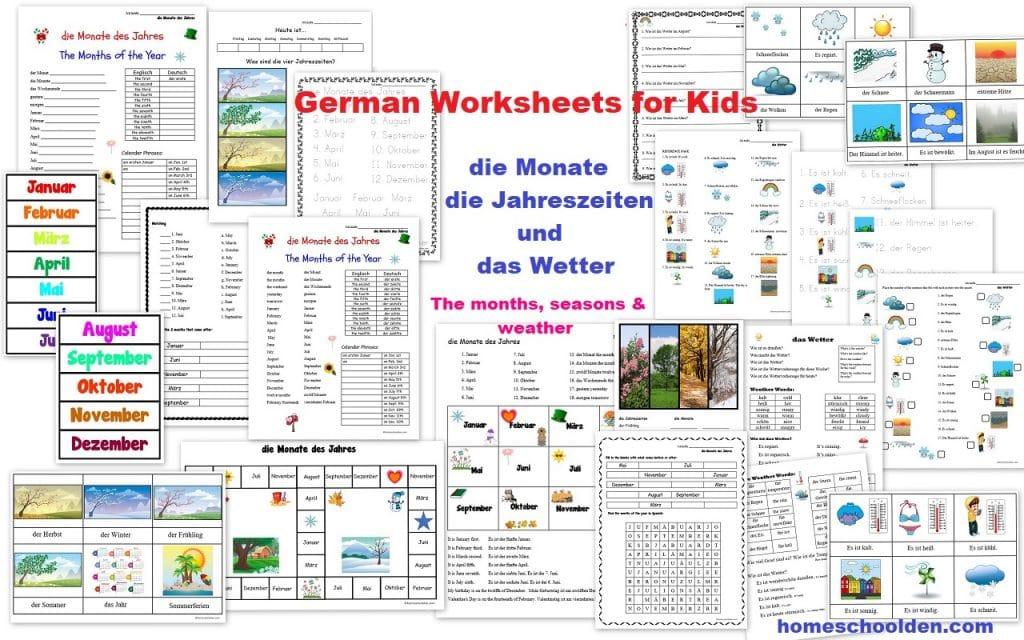 German Worksheets - Monate Jahreszeiten und das Wetter