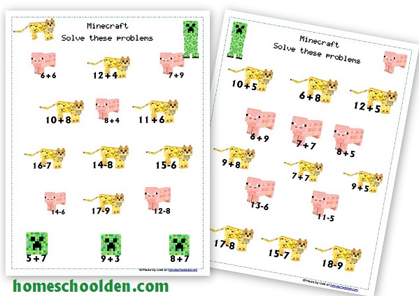 Number Names Worksheets addition with pictures worksheets : Free Minecraft Math Addition & Subtraction Practice Pack ...