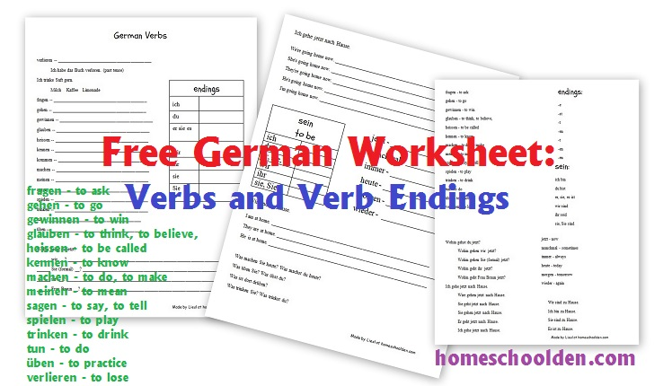 free german verb worksheet homeschool den. Black Bedroom Furniture Sets. Home Design Ideas