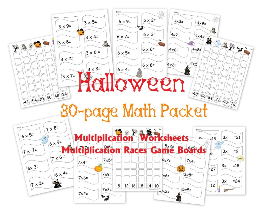 free 30 page halloween multiplication packet math worksheets and games homeschool den. Black Bedroom Furniture Sets. Home Design Ideas